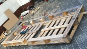 Einzel-Palettenbett, Rohbau Endmontage