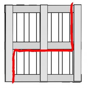 Schema: Teilen einer Palette in zwei von insgesamt vier benötigten Bettrahmen-Teilstücke