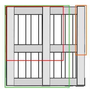 Paletten-Schema Schreibtisch. Grün: Seitenteile. Rot: Eckstück. Orange: Beine.