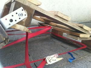 Paletten-Lliegestuhl, Spanngurt für das Fußteil
