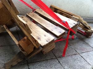 Paletten-Liegestuhl, lackiert, Detail Sitzfläche