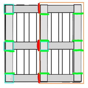 Paletten-Zuschnitt für Selbstbau-Küchenschrank, Schema