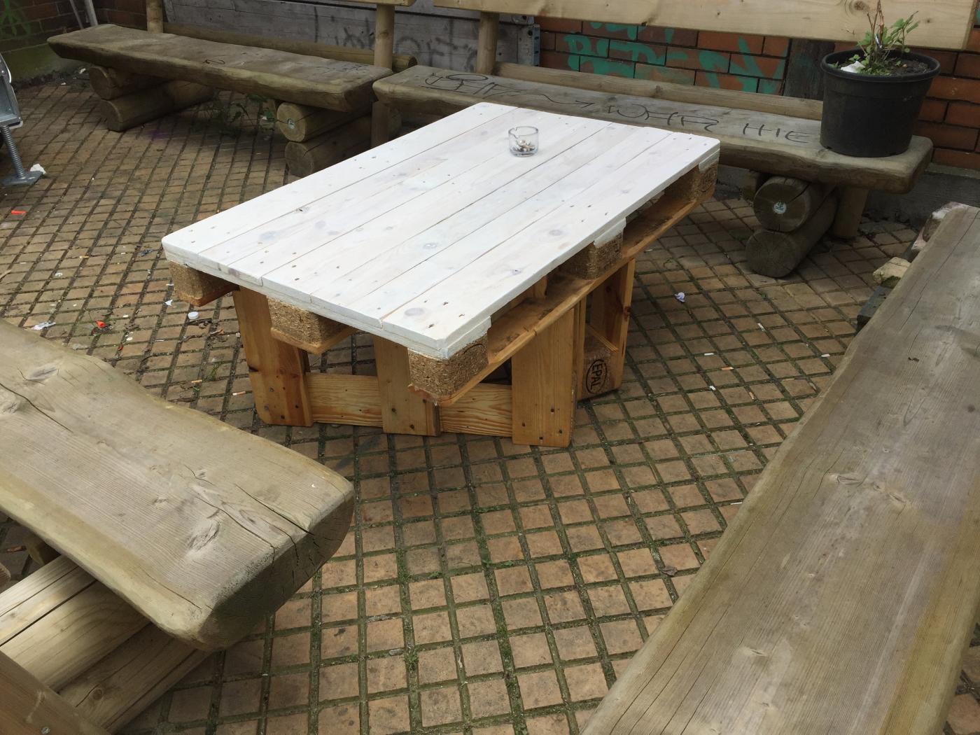 Palettentisch Gartentisch Mit Steckbaren Beinen Palettenbett Und
